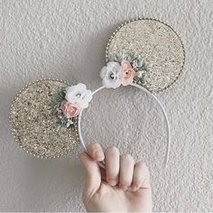 Gold Glitter Minnie Mickey Mouse Ears, Sparkle Disney Ears for Kids and Adults, Minnie Ear Headband, Disney Bride Flower Crown by CharmAndCompany on Etsy