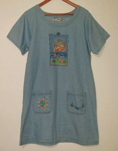 GET LUCKY Womens Denim COTTON EMBROIDERED SUMMER HOUSE DRESS Size Large…