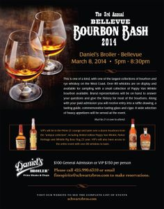 Our 3rd Annual Bellevue Bourbon Bash at Daniel's Broiler At Bellevue is approaching! This is a one of a kind event with one of the largest collections of bourbon and rye whiskey on the West Coast. Call 425.990.6310 to make reservations, today!