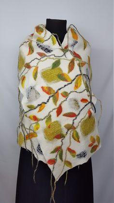 Big long very warm winter scarf with leaves, handmade and unique nuno felt silk wool shawl, gift idea for Thanksgiving day Nuno Felt Scarf, Handmade Scarves, Silk Wool, Nuno Felting, Wool Felt, Leaves, Winter, Unique, Etsy