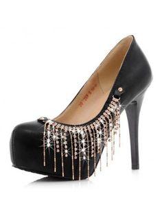 Stiletto Heel Black PU Platform Pumps With Diamante Chains