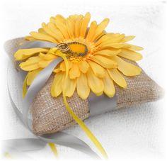 RUSTIC Wedding Ring Bearer Pillow Ringbearer Pillow GERBERA Daisy  CUSTOMIZE  Burlap on Etsy, $25.00