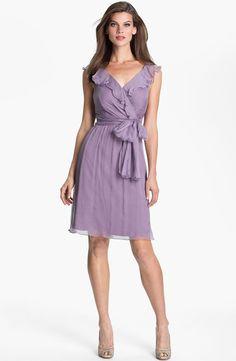 Amsale Ruffle Crinkle Silk Chiffon Dress