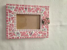 Pink Mosaic Frame with Porcelain flowers by TamarDesigns on Etsy