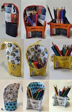 Name: 'Sewing : 2 Tone Zippered Pencil Case with PocketsPencil Bag-Pencil Case that zips into a pencil cup.Make your own DIY pencil pouch or pencil case! Pencil Case Pattern, Zipper Pencil Case, Diy Pencil Case, Pencil Case Tutorial, Diy Crafts Pencil Case, Pouch Tutorial, Pencil Pouch, Diy Sewing Projects, Sewing Hacks