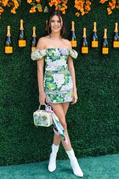 Kendall Jenner looked fresh in floral Dolce & Gabana while at the Veuve Cliquot Polo Classic.