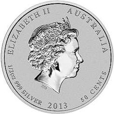 2013 Year of the Snake - Obverse Image of the - 1/2 oz. Australian Silver Lunar Bullion Coin