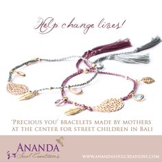 You are so so precious. That is the message in and through Ananda Soul Creations. That's what the moms and the center for street children know when making the 'Precious you' bracelets. And that's my prayer for you to know when wearing them. Celebrate your preciousness!!! Handmade by mothers of street children in Bali. Available at https://www.anandasoulcreations.com/product/precious-you-bracelets-amethyst-blue-topaz-gold-vermeil-lavender-thread/