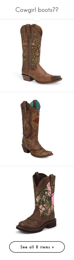 """""""Cowgirl boots🐴🦄"""" by christencowgirl ❤ liked on Polyvore featuring shoes, boots, full grain leather boots, cut-out boots, perforated boots, embroidered cowgirl boots, embroidered boots, casual, cowboy boots and brown cowboy boots"""