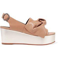 Tibi - Estel Embellished Leather Platform Sandals (£165) ❤ liked on Polyvore featuring shoes, sandals, sand, slingback platform sandals, bow sandals, platform wedge shoes, leather platform sandals and leather wedge shoes