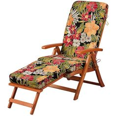 """Improvements Steamer Chair Cushion 72""""x19""""x3"""" - Tropical Oasis Print (1.402.210 VND) ❤ liked on Polyvore featuring home, outdoors, outdoor decor, outdoor patio decor, tropical patio decor, tropical outdoor decor and outdoor garden decor"""