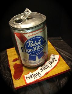 pabst can cake by debbiedoescakes, via Flickr