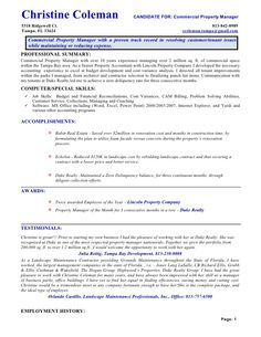 14 commercial property manager resume riez sample resumes - Property Management Resume