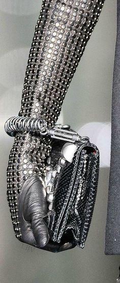 Gloves fashion image by Fantasy Fashion Fanatics on Futuristic Fashion Gloves Fashion, Metal Fashion, Long Gloves, Mode Style, Leather Gloves, Mitten Gloves, Roberto Cavalli, Fashion Handbags, Gray