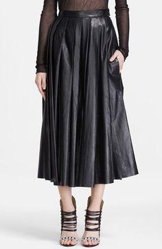 BLK DNM plisado de cuero falda de Midi
