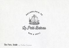 Vintage Badge Boat Logo Design by Madame Levasseur, The Paris Studio