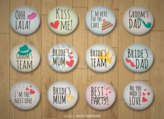 Big set of wedding pins featuring texts such as Bride's mum, kiss me, Groom's…