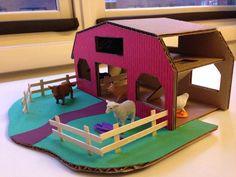 DIY Barn for Kids from cardboard (diaper box), cardstock, wood stirring sticks (momarchitect)