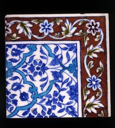 Tile, ground feldspar and starch with underglaze painting, Jaipure, India, late 19th century