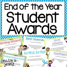 Give your students a unique award that they will cherish and remember. This pack of awards has 3 sets: one that will save ink, one with a dot boarder, and a third set that is my favorite and snazzy! 31 End of the year awards: *Happiest Morning Person *Most Cooperative *Most Caring *Most Fashionable Girl *Most Responsible *The State Farm Award *Best Manners *Friendliest *Right Hand Man *Nicest Smile *Listening Ear *Artful Artist *Make Me Laugh *Excellent Sportsmanship *M & M *Most Fash...