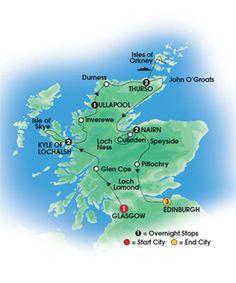 2013 SCOTTISH ISLES & GLENS 12 Day Escorted Coach Tour of Scotland - First Class & Highland Hotels - Overnights: 1 Glasgow, 2 Kyle of Lochalsh, 1 Ullapool, 2 Thurso, 2 Nairn, 3 Edinburgh - Starts Glasgow/Ends Edinburgh - CIE Tours