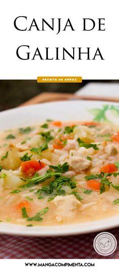 Receita de Canja de Galinha - um prato da vovó para esquentar nos dias frios! #receitas #arroz  Cheeseburger Chowder, Risotto, Health Tips, Curry, Ethnic Recipes, Yummy Recipes, Portion Plate, Ideas, Soups