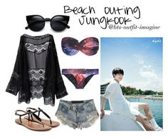 """""""jungkook beach"""" by ewaporter ❤ liked on Polyvore featuring WithChic, One Teaspoon and Sam Edelman"""