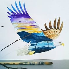"@karita_art on Instagram: ""Soaring eagle  #watercolor#art#doubleexposure"""