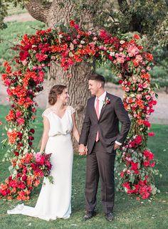 Red & Pink Golden Summer Wedding Inspiration (red, vibrant pink and orange decor)