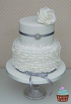 Frills Silver Wedding Cake