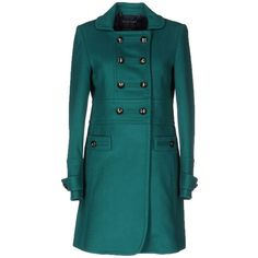 Marc By Marc Jacobs Coat ($510) ❤ liked on Polyvore featuring outerwear, coats, green, long sleeve coat, green coat, marc by marc jacobs, blue coat and blue double breasted coat