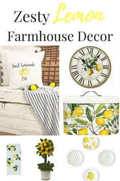 Zesty Lemon Farmhouse Decor for your home including a lemon clock, lemon pillows. Zesty Lemon Farmhouse Decor for your home including a lemon clock, lemon pillows, lemon plates and more! decor Source by Country Farmhouse Decor, Modern Farmhouse Kitchens, Farmhouse Style Kitchen, Rustic Decor, Industrial Farmhouse, Rustic Cottage, Primitive Country, Vintage Farmhouse, Vintage Kitchen