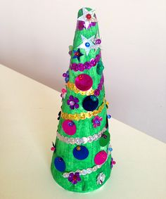 Sequinned Christmas Tree Decorations via Childhood 101