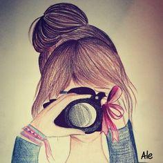 Art,Girl,Draw,Cute,Photo,Camera - inspiring picture on PicShip.com