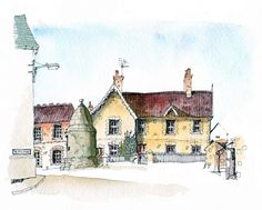 A subtler offering, this is the town gaol in Castle Cary, without the bright yellows and great big watery skies. Line Drawing, Drawing Sketches, Painting & Drawing, Art Drawings, Drawing Tips, Pen And Watercolor, Watercolor Landscape, Watercolor Paintings, Watercolours