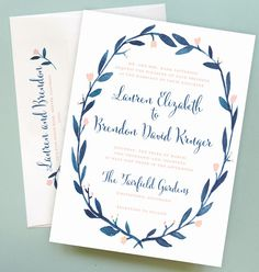 Wreath Wedding Invitation with Watercolor Floral Wreath Border by Leveret Paperie