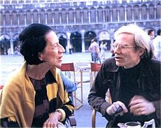 Diana Vreeland and Andy Warhol in Piazza San Marco in Venice, Summer from the book by Eleanor Dwight, Diana Vreeland, New York, . Diana Vreeland, Andy Warhol, People Of Interest, Nyc, Girls Series, Vogue, Famous Women, Famous People, Fashion Editor