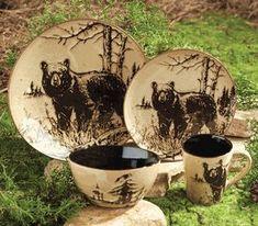 Rustic Wildlife Dinnerware Sets with Moose & Bear Designs Bear Woodlands Dinnerware Black Bear Decor, Black Forest Decor, Rustic Cabin Decor, Lodge Decor, Rustic Cabins, Woodland Decor, Farmhouse Decor, Rustic Dinnerware, Dinnerware Sets