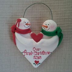 Hand sculpted polymer clay heart shaped First Christmas Together sweetheart snowmen ornament by JessiesCornerClay on Etsy