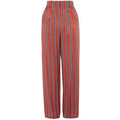 TopShop Striped Slouch Pants ($75) ❤ liked on Polyvore featuring pants, red, striped trousers, red wide leg pants, red trousers, stripe pants and slouchy pants