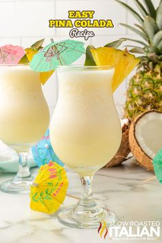 Easy Pina Colada Recipe is extra creamy with no added sweeteners. Imagine yourself on an island vacation with every sip of this tasty drink! Pina Colada Recipe Non Alcoholic, Frozen Pina Colada, Virgin Pina Colada, Margaritaville Frozen Concoction Maker, Peach Margarita Recipes, The Slow Roasted Italian, Pineapple Recipes, Coconut Desserts, Pina Colada