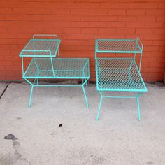 Mid-Century Aqua Side Tables, $480, now featured on Fab.