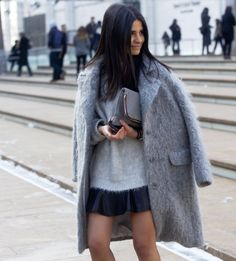 fuzzy coat #style #fashion #streetstyle