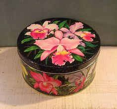Stunning Vintage Tin Box Peek Frean English Biscuits 1952 Black with Orchids #PeekFrean
