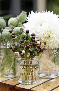 mason jar flower arrangements | Mason Jars also make fabulous vases for casual flower arrangements