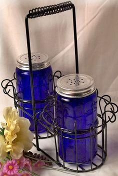 Cobalt Blue Glass Salt & Pepper Set w/ Metal Basket Blue Dishes, White Dishes, Bleu Cobalt, Cobalt Glass, Vintage Glassware, Fenton Glassware, Crystal Glassware, Metal Baskets, Blue Bottle
