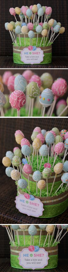 Cute easter themed gender reveal cake pops! Could be cute as just easter or spring cake pops without the gender reveal as well.