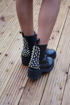 I love thick black boots and the studs are a super cute touch!