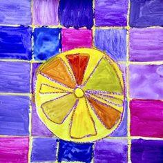 Citrus fruits in complementary colors 2nd Grade Art, Third Grade, Fruit Art Kids, Elements Of Art, Elementary Art, Preschool Activities, Art Lessons, Art Projects, Colours