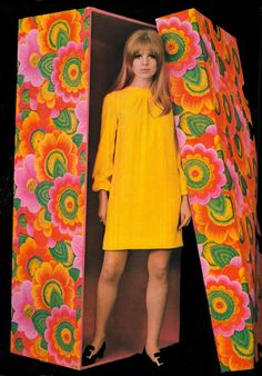 Marianne Faithfull 1960s yellow shift dress mini long sleeves vintage fashion style psychadelic floral color photo print ad mod twiggy